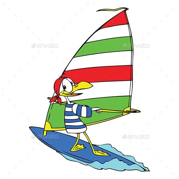 Cartoon Seagull Windsurfing Vector Illustration