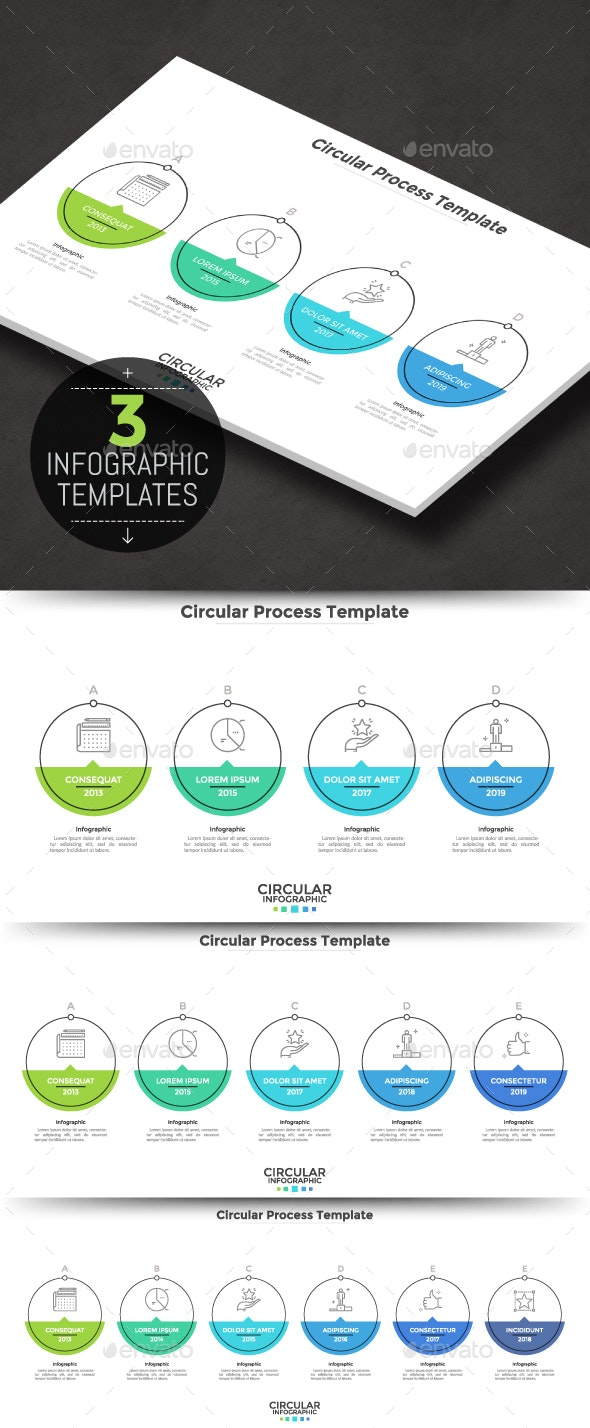 Circular Infographic Process Template (3 Items) - Infographics