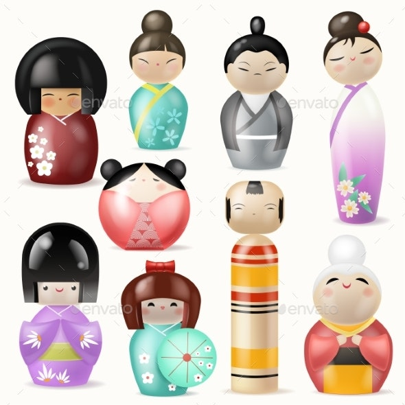 Japanese Kokeshi Dolls Vector - Miscellaneous Vectors