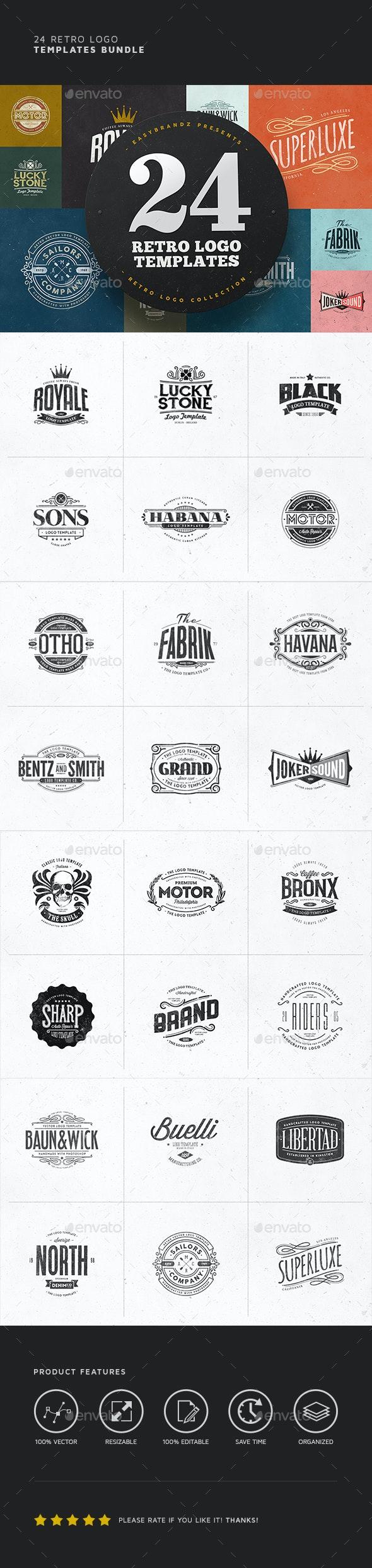 24 Logo Templates Bundle - Badges & Stickers Web Elements