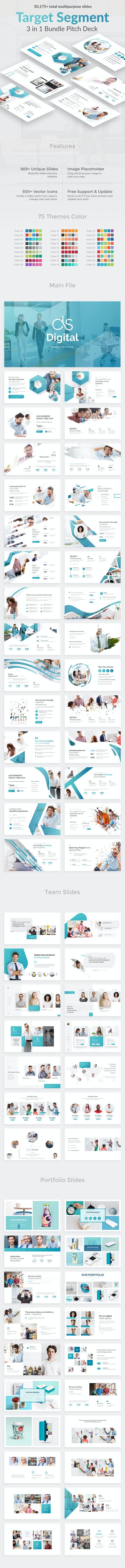 Target Segment 3 in 1 Pitch Deck Bundle Keynote Template - Business Keynote Templates
