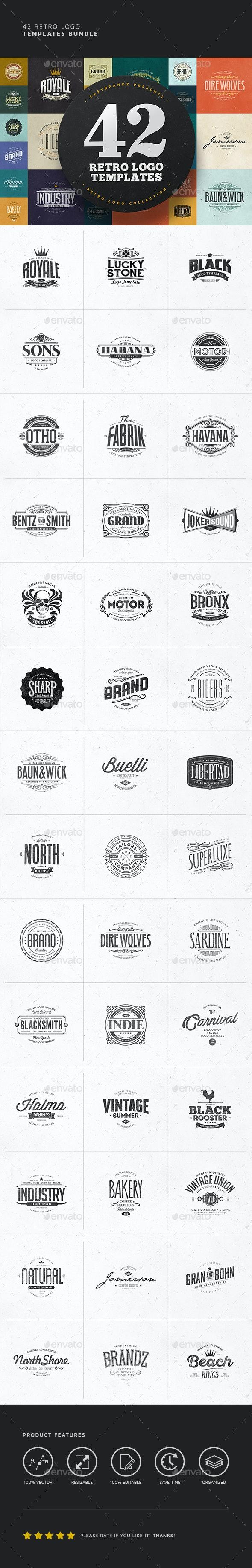 42 Logo Templates Bundle - Badges & Stickers Web Elements