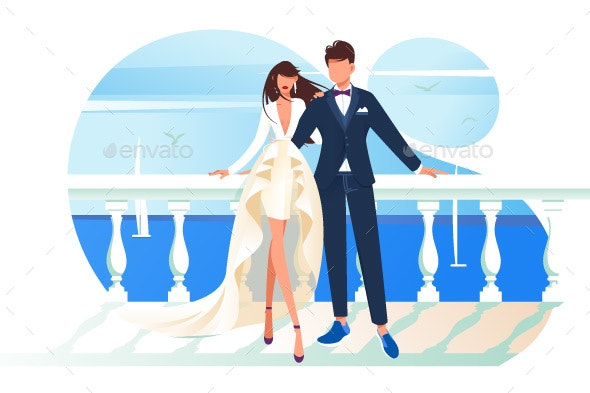 Flat Bridal Frame with Bride and Groom - Miscellaneous Vectors