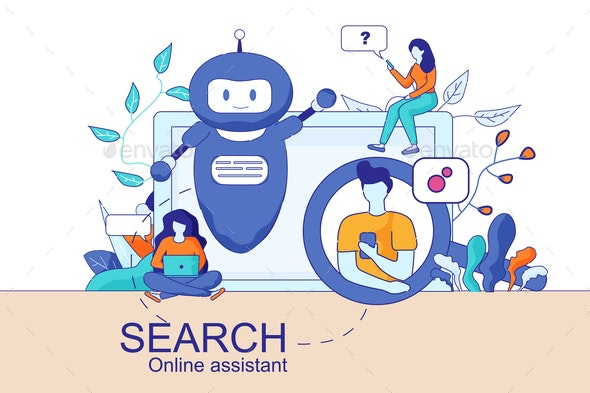 Mobile and PC Smart Search Online Assistant - Concepts Business