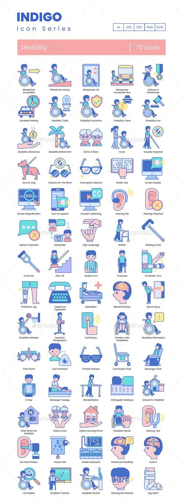 Disability Icons - Indigo - Miscellaneous Icons