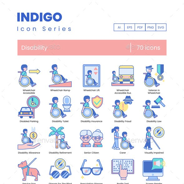 Disability Icons - Indigo