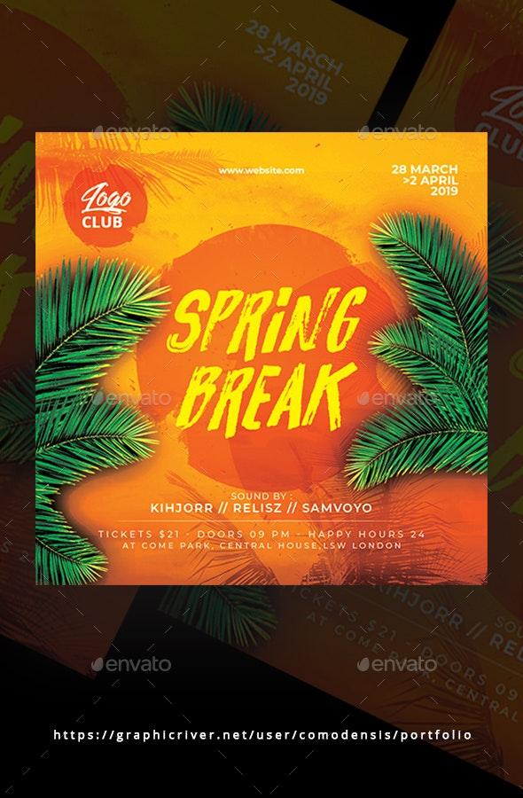 Spring Break Dj Party Flyer - Clubs & Parties Events