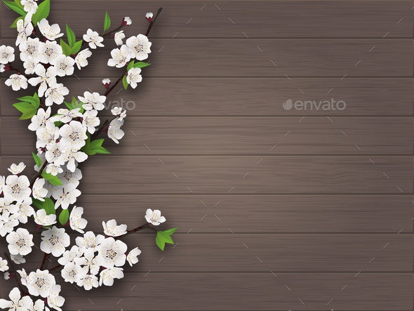 Spring Blooming Branch on Old Wooden Background - Flowers & Plants Nature