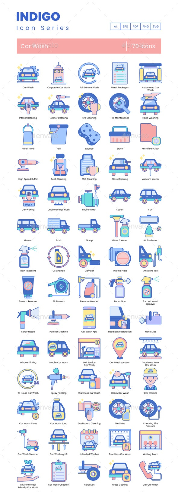 Car Wash Icons - Indigo Series - Man-made objects Objects