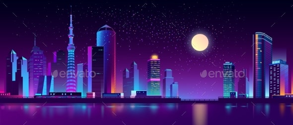 Vector Modern Megapolis on River at Night - Buildings Objects