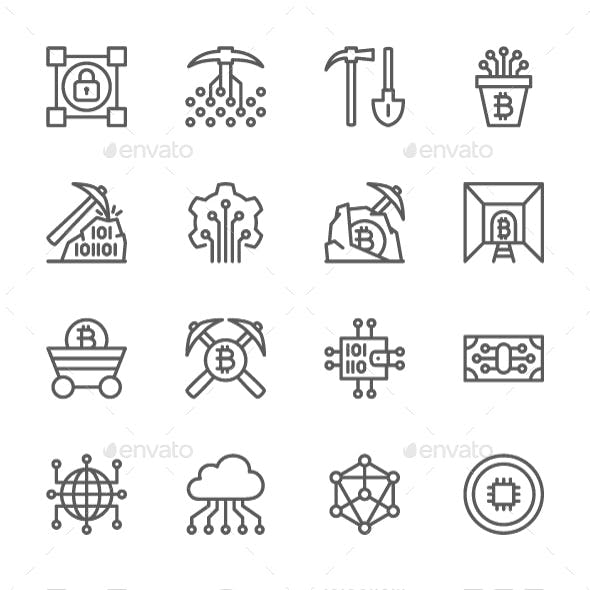 Set Of Blockchain Technology Line Icons. Pack Of 64x64 Pixel Icons