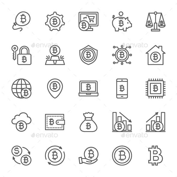 Set Of Bitcoin And Cryptocurrency Line Icons. Pack Of 64x64 Pixel Icons