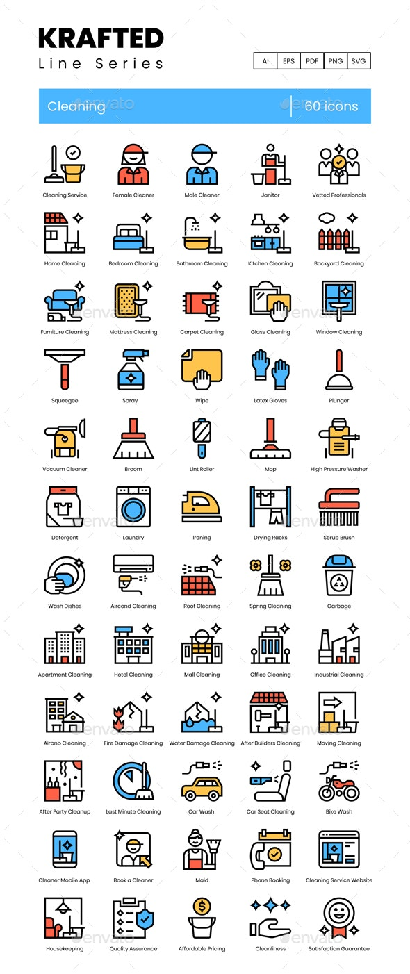 Cleaning Icons - Krafted Line Series