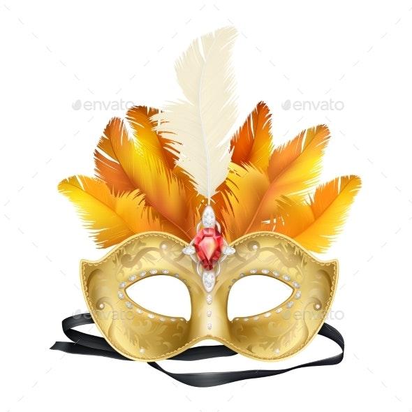 Mardi Gras Carnival Face Mask Realistic Vector - Miscellaneous Vectors