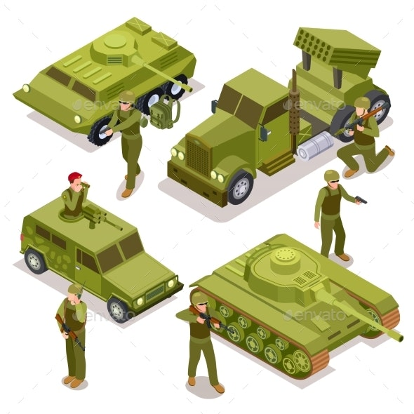 Tank, Soldiers and Military Cars - Miscellaneous Vectors