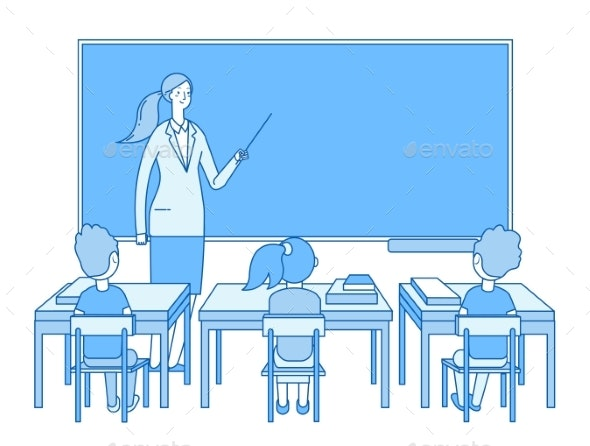 Teacher in Classroom - People Characters
