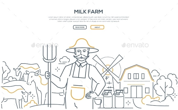 Milk Farm - Line Design Style Web Banner - Food Objects