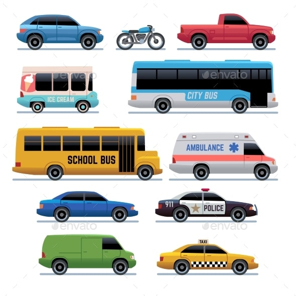 Car Flat Icons Public City Transport - Man-made Objects Objects