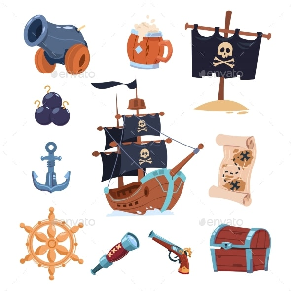 Vector Pirate Paraphernalia Isolated on White - Miscellaneous Conceptual