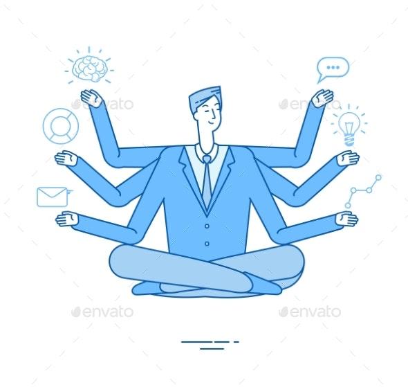 Multitasking Businessman - People Characters