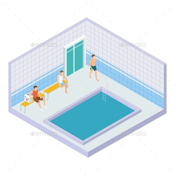 Vector Men in Water Pool Isometric Concept - Miscellaneous Vectors