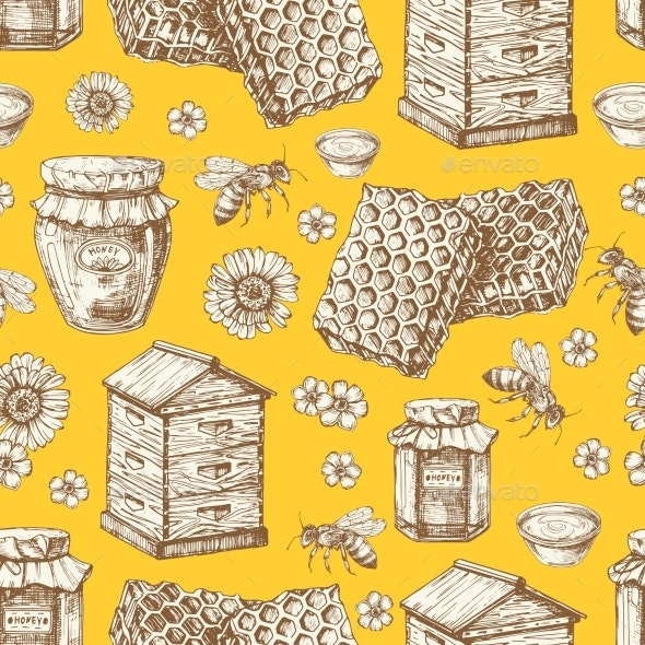 Hand Drawn Honey Seamless Pattern with Bees - Backgrounds Decorative