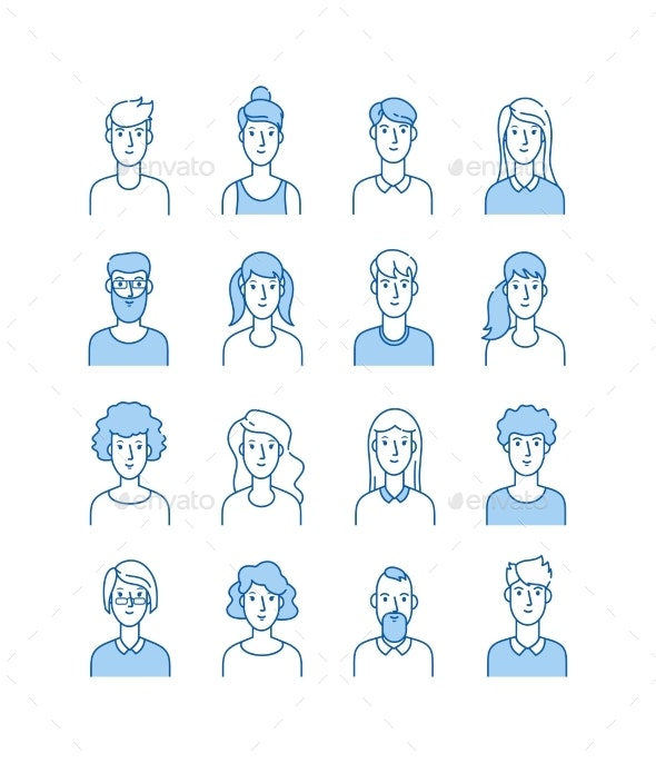 Outline Avatars - People Characters