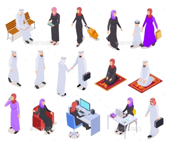 Muslim Isometric Business - People Characters