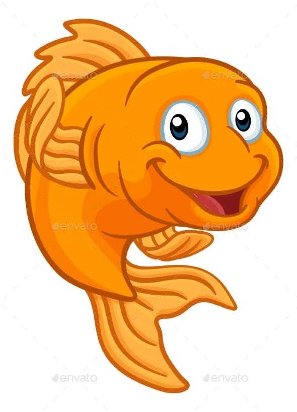 Gold Fish or Goldfish Cartoon Character - Animals Characters