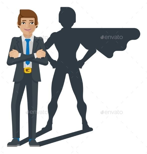 Superhero Businessman Shadow Cartoon Mascot - People Characters