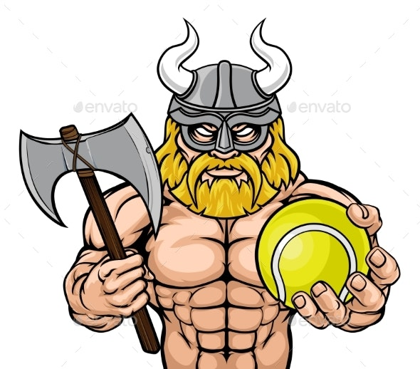 Viking Tennis Sports Mascot - Sports/Activity Conceptual