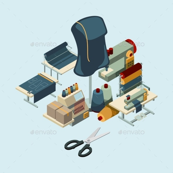 Textile Industry Sewing Manufactory Tools Concept - Man-made Objects Objects