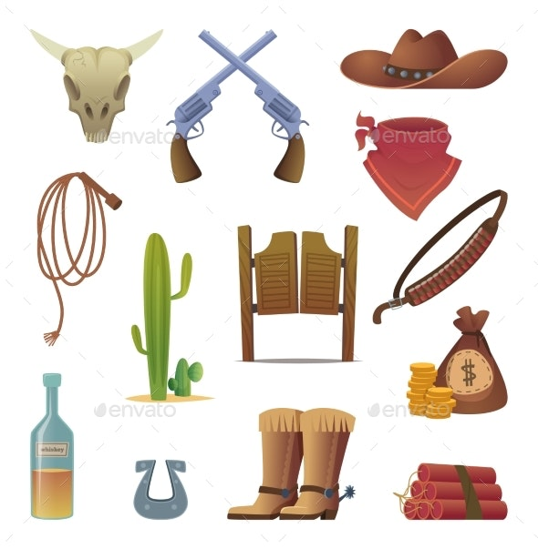 Wild West Icon Cowboys Country Western Symbols - Miscellaneous Vectors
