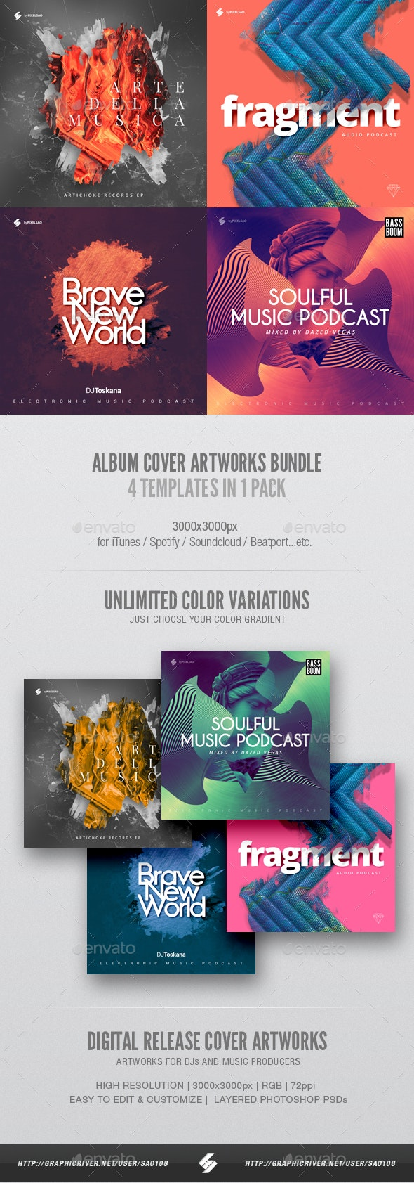 Electronic Music Album Cover Artwork Templates Bundle 10 - Miscellaneous Social Media