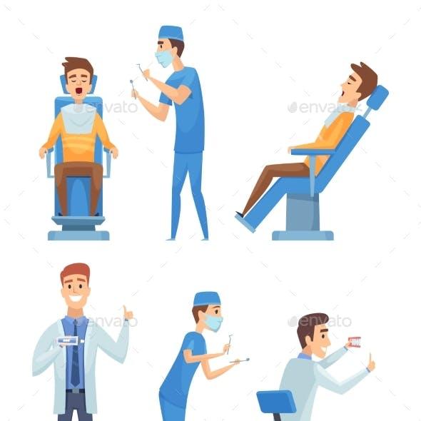 Dentists Characters Stomatology Medicine