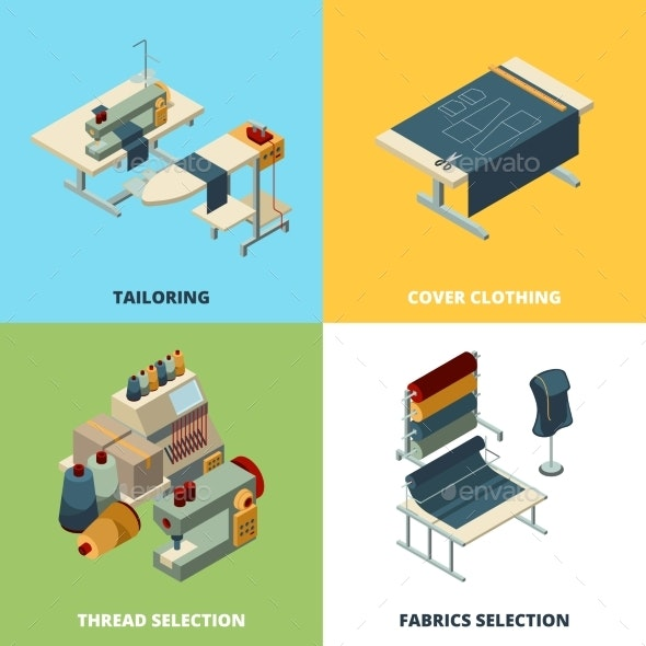 Sewing Production Textile Manufacturing Concept - Man-made Objects Objects