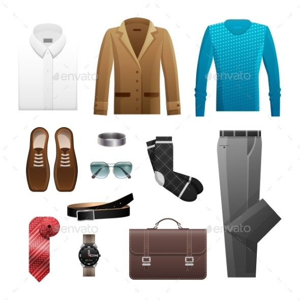 Mens Outfits Set for Everyday Life on White - Man-made Objects Objects