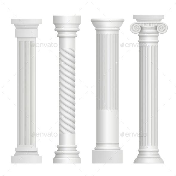 Antique Column Historical Greek Pillars - Man-made Objects Objects