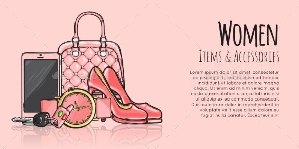 Women Items and Accessories Fashionable Web Banner - Miscellaneous Vectors