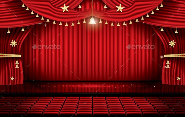Red Stage Curtain with Seats and Copy Space - Miscellaneous Seasons/Holidays