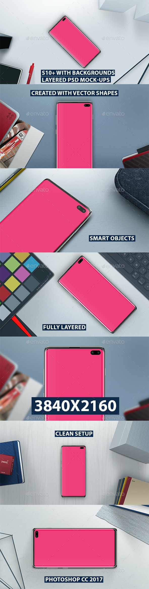 S10+ Layered PSD Mock-Ups with Backgrounds - Mobile Displays