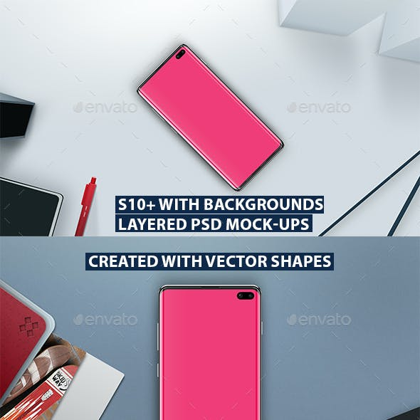 S10+ Layered PSD Mock-Ups with Backgrounds