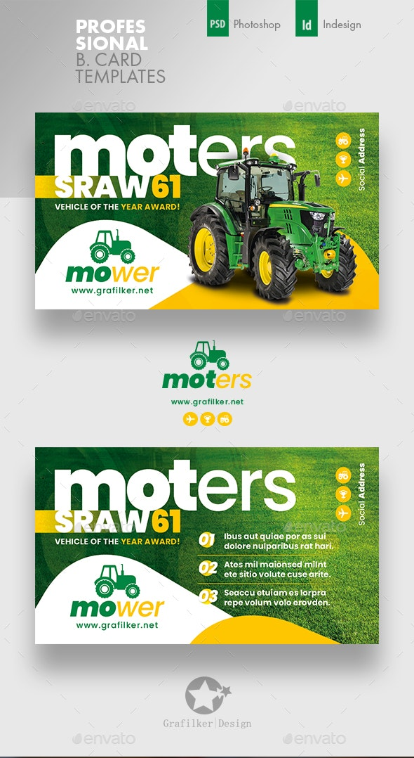 Vehichle Mower Business Card Templates - Corporate Business Cards