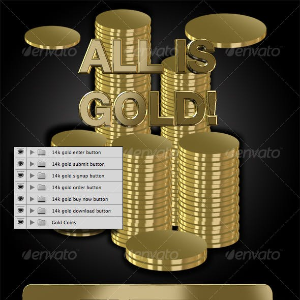 Cool GOLD Buttons w/Coin Stacks