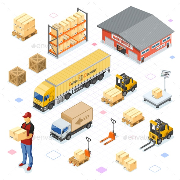 Warehouse Storage and Delivery Isometric Icons Set - Services Commercial / Shopping