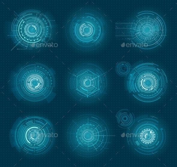 Set of Blue Infographic Elements Interface - Miscellaneous Vectors