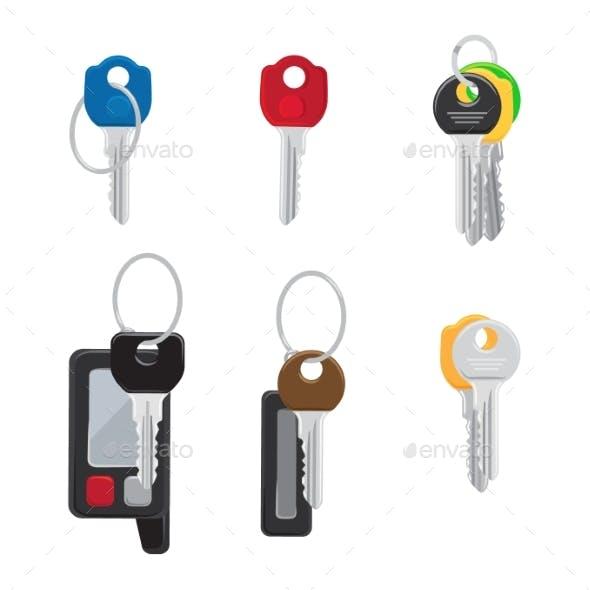 Six Different Keys Set Isolated Illustration