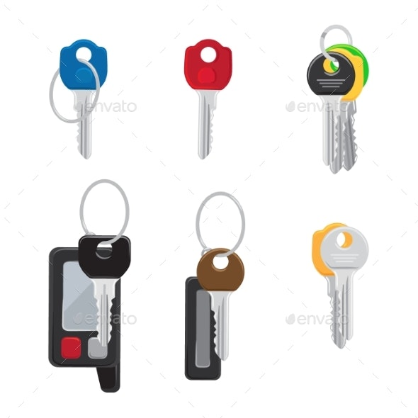 Six Different Keys Set Isolated Illustration - Miscellaneous Vectors