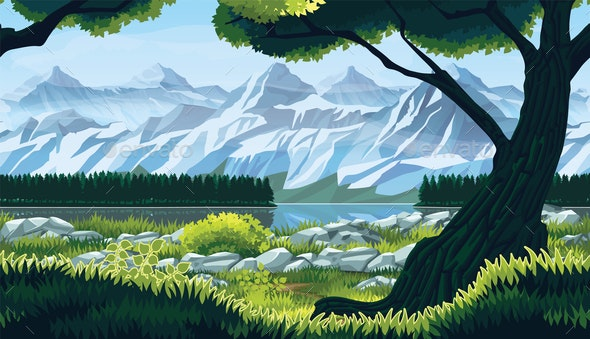 Seamless background of landscape with river, forest and mountains. - Backgrounds Decorative