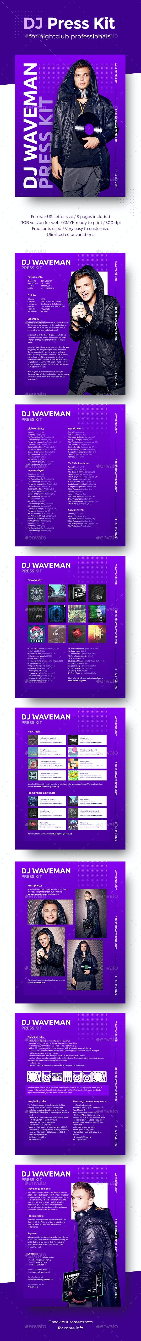 EDM DJ Press Kit / Rider / Resume PSD Template - Resumes Stationery